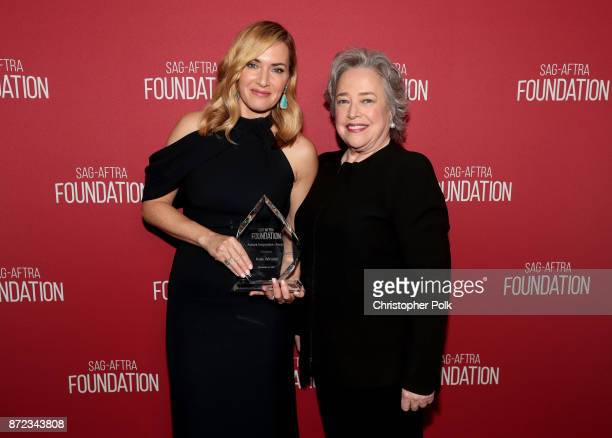 Honoree Kate Winslet and Kathy Bates attend the SAGAFTRA Foundation Patron of the Artists Awards 2017 at the Wallis Annenberg Center for the...