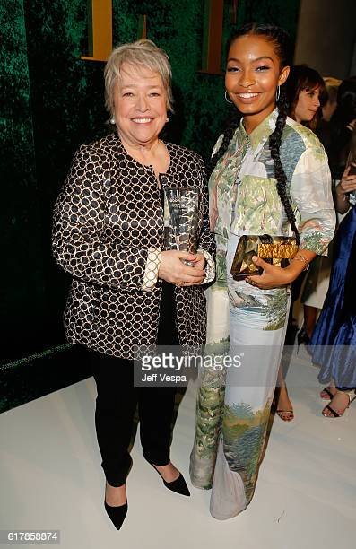 Honoree Kathy Bates and actress Yara Shahidi attend the 23rd Annual ELLE Women In Hollywood Awards at Four Seasons Hotel Los Angeles at Beverly Hills...