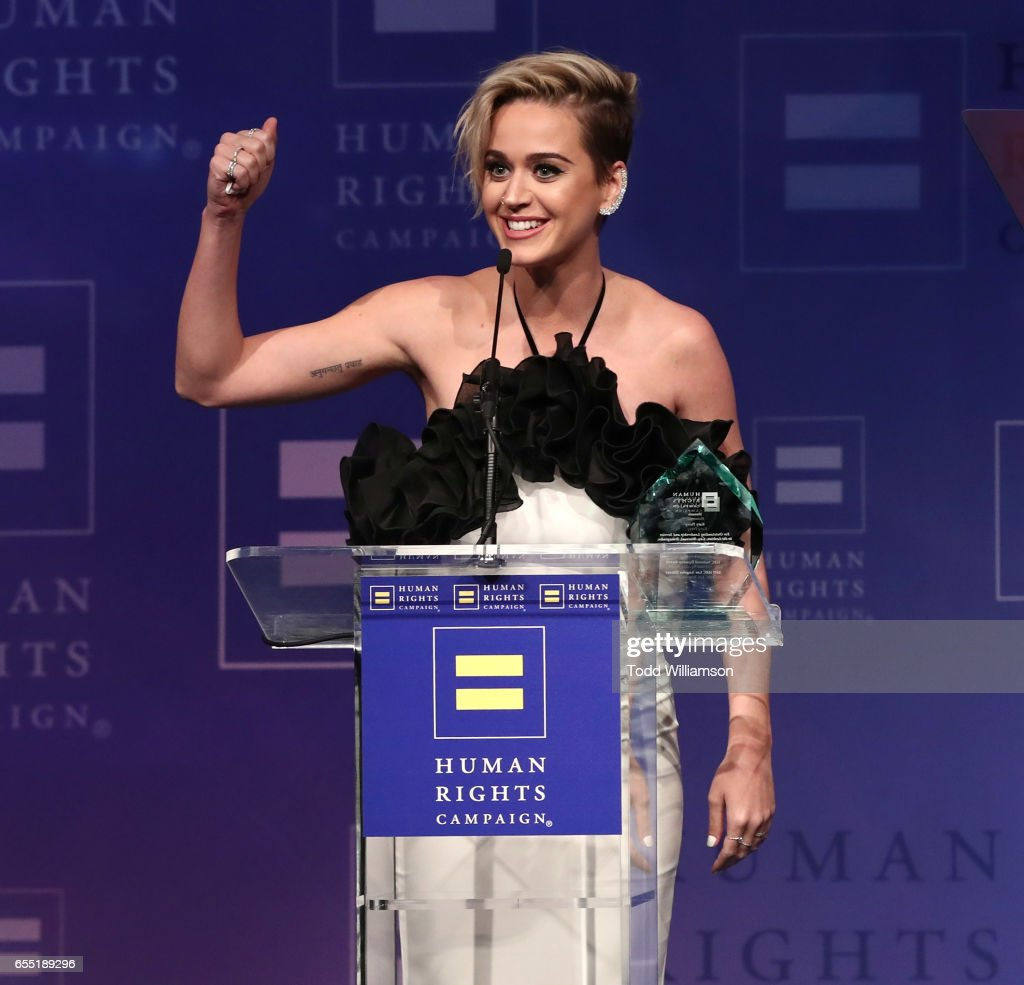 Honoree Katy Perry accepts the HRC National Equality Award onstage the Human Rights Campaign's 2017 Los Angeles Gala Dinner at JW Marriott Los Angeles at L.A. LIVE on March 18, 2017 in Los Angeles, California.