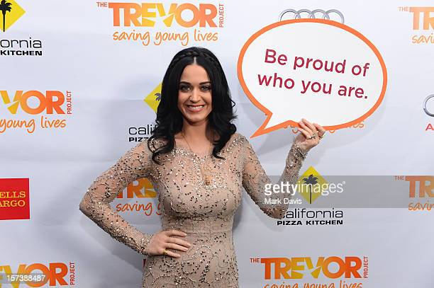 Honoree Katy Perry poses in the Getty Images and Wonderwallcom photo booth and green room at Trevor Live honoring Katy Perry and Audi of America for...