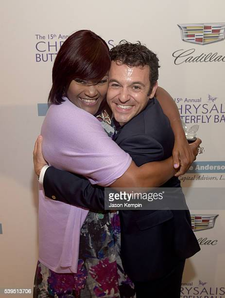 Honoree Kellie Williams and actor Fred Savage pose backstage the 15th Annual Chrysalis Butterfly Ball at a Private Residence on June 11 2016 in...