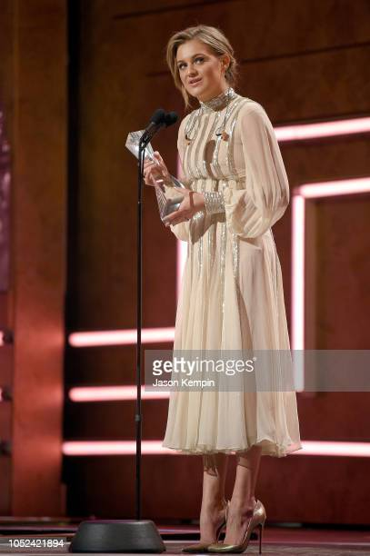 Honoree Kelsea Ballerini accepts an award onstage during the 2018 CMT Artists of The Year at Schermerhorn Symphony Center on October 17 2018 in...