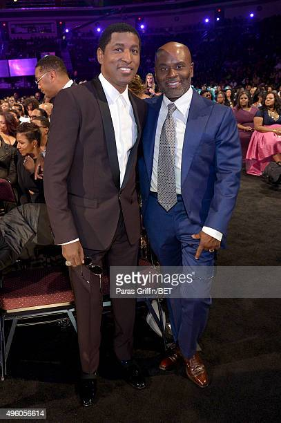 "Honoree Kenneth ""Babyface"" Edmonds and music executive L.A. Reid attend the 2015 Soul Train Music Awards at the Orleans Arena on November 6, 2015 in..."