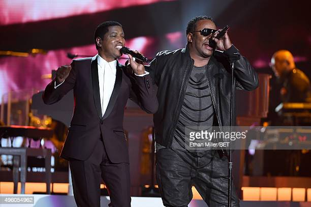 Honoree Kenneth Babyface Edmonds and recording artist Bobby Brown perform onstage during the 2015 Soul Train Music Awards at the Orleans Arena on...