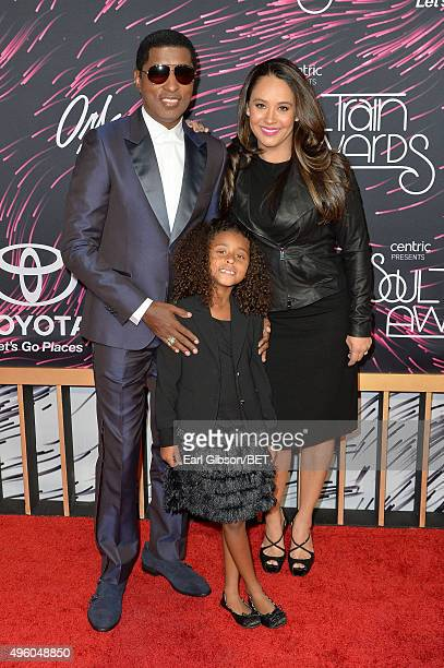 Honoree Kenneth Babyface Edmonds Peyton Edmonds and actress Nicole Edmonds attend the 2015 Soul Train Music Awards at the Orleans Arena on November 6...