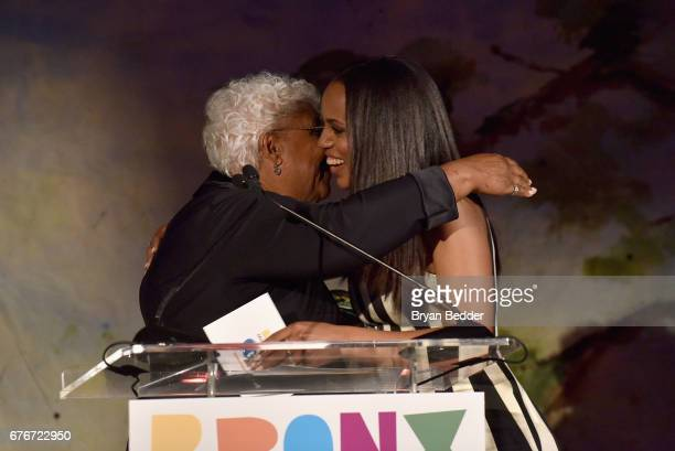 Honoree Kerry Washington accepts an award from her mother Valerie Washington at the Bronx Children's Museum Gala at Tribeca Rooftop on May 2 2017 in...