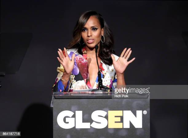 Honoree Kerry Washington accepts the Inspiration Award onstage during the 2017 GLSEN Respect Awards at the Beverly Wilshire Hotel on October 20 2017...