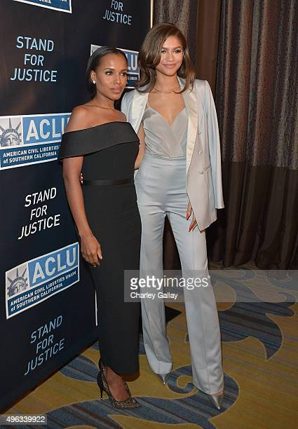 Honoree Kerry Washington and musician Zendaya attend the ACLU SoCal Hosts 2015 Bill Of Rights Dinner at the Beverly Wilshire Four Seasons Hotel on...