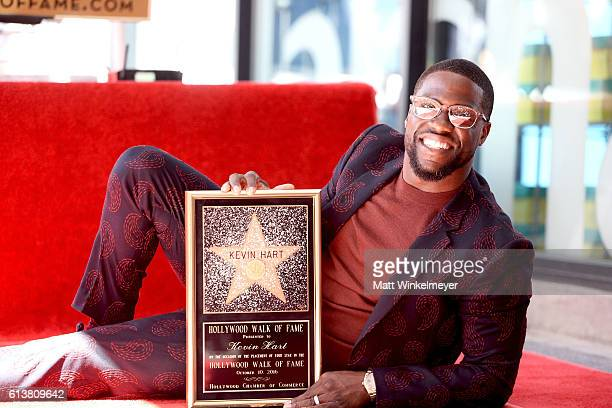 Honoree Kevin Hart poses for a photo as he is honored with a star on the Hollywood Walk of Fame on October 10 2016 in Hollywood California