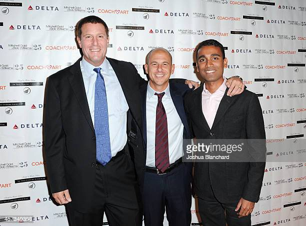 Honoree Kevin Mayer from the Walt Disney Company boardmember at CoachArt Brent Weinstein and staff vice president at Delta Ranjan Goswami attend the...