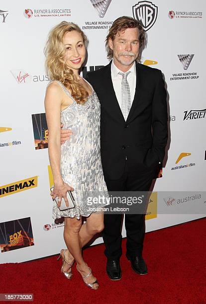 Honoree Kieran DarcySmith of BlueTongue Films and actress/writer Felicty Price attend the 2nd Annual Australians in Film Awards Gala at...