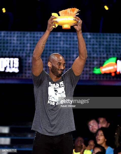 Honoree Kobe Bryant accepts the Legend award onstage during the Nickelodeon Kids' Choice Sports Awards 2016 at UCLA's Pauley Pavilion on July 14 2016...