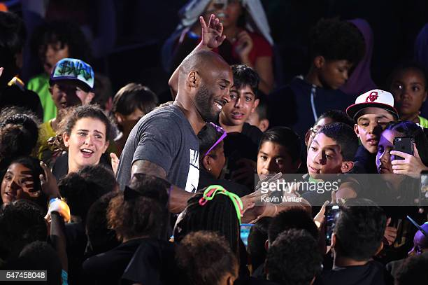 Honoree Kobe Bryant greets fans during the Nickelodeon Kids' Choice Sports Awards 2016 at UCLA's Pauley Pavilion on July 14 2016 in Westwood...
