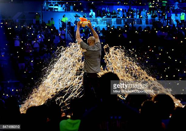 Honoree Kobe Bryant is slimed while accepting the Legend award onstage during the Nickelodeon Kids' Choice Sports Awards 2016 at UCLA's Pauley...