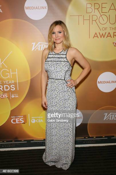 Honoree Kristen Bell attends the Variety Breakthrough of the Year Awards during the 2014 International CES at The Las Vegas Hotel Casino on January 9...