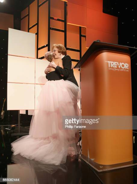 Honoree Kristin Chenoweth accepts the Icon Award from Carol Burnett onstage during The Trevor Project's 2017 TrevorLIVE LA Gala at The Beverly Hilton...