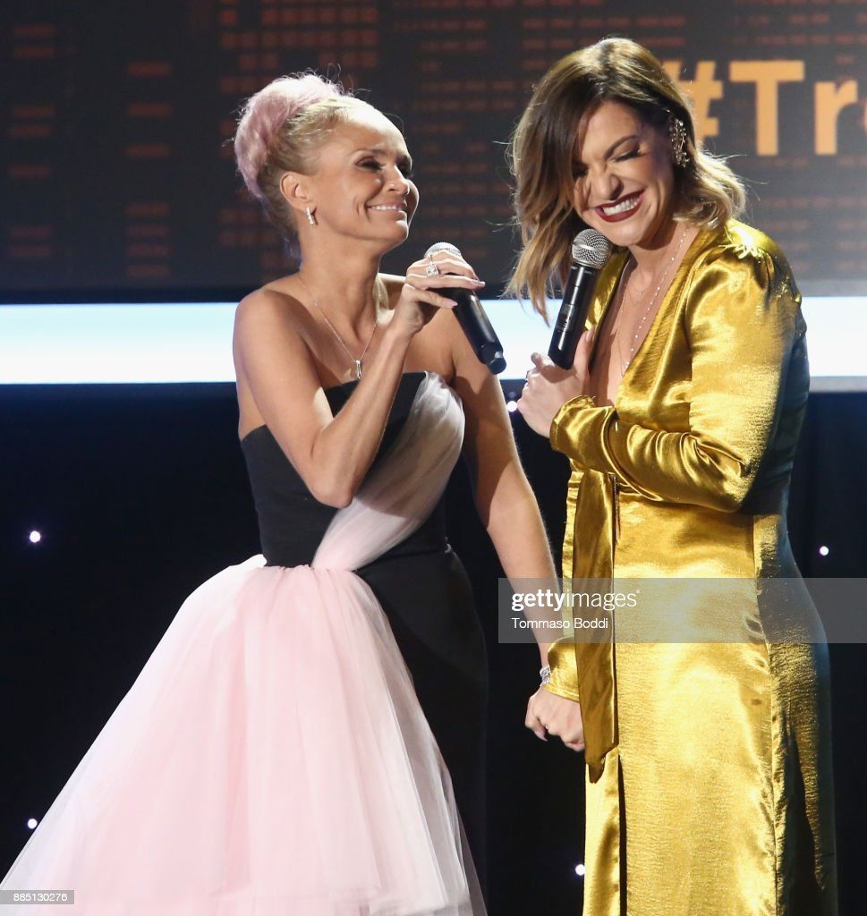 Honoree Kristin Chenoweth (L) and Shoshana Bean perform onstage during The Trevor Project's 2017 TrevorLIVE LA Gala at The Beverly Hilton Hotel on December 3, 2017 in Beverly Hills, California.