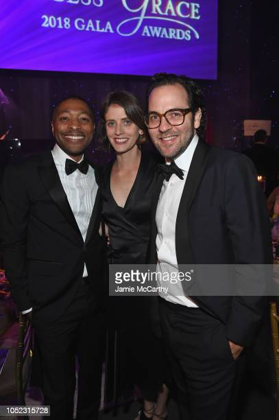 Honoree Kyle Abraham Amy Herzog and honoree Sam Gold attend the 2018 Princess Grace Awards Gala at Cipriani 25 Broadway on October 16 2018 in New...
