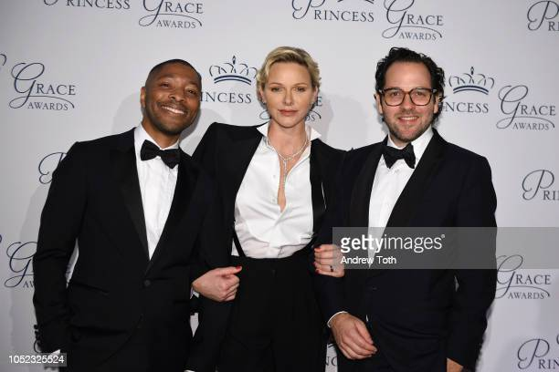 Honoree Kyle Abraham HSH Princess Charlene of Monaco and honoree Sam Gold attend the 2018 Princess Grace Awards Gala at Cipriani 25 Broadway on...