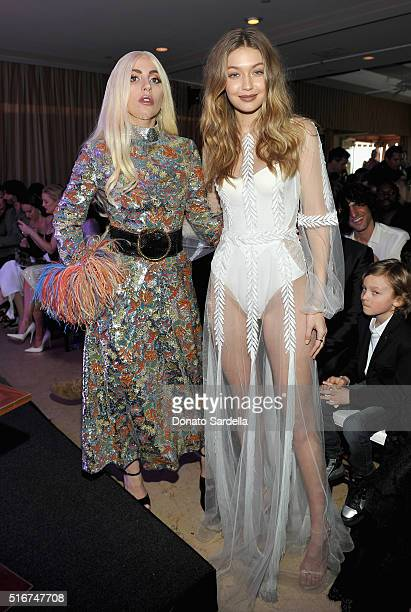 Honoree Lady Gaga and model Gigi Hadid attend The Daily Front Row 'Fashion Los Angeles Awards' 2016 at Sunset Tower Hotel on March 20 2016 in West...