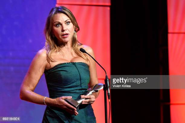 Honoree Lara Logan accepts award onstage during the 42nd Annual Gracie Awards hosted by The Alliance for Women in Media at the Beverly Wilshire Hotel...
