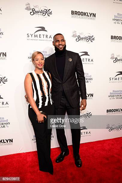 Honoree LeBron James and wife Savannah Brinson attend the 2016 Sports Illustrated Sportsperson of the Year at Barclays Center on December 12 2016 in...