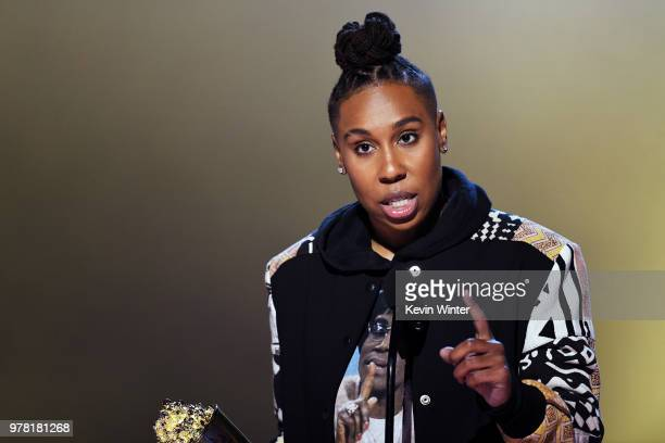 Honoree Lena Waithe accepts the MTV Trailblazer Award onstage during the 2018 MTV Movie And TV Awards at Barker Hangar on June 16 2018 in Santa...