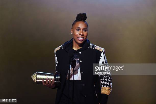 Honoree Lena Waithe accepts the MTV Trailblazer Award onstage during the 2018 MTV Movie And TV Awards at Barker Hangar on June 16, 2018 in Santa...