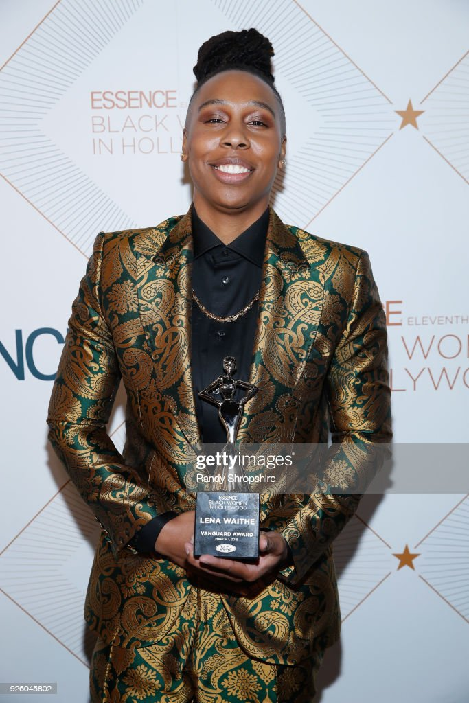 Honoree Lena Waithe poses with award at the 2018 Essence Black Women In Hollywood Oscars Luncheon at Regent Beverly Wilshire Hotel on March 1, 2018 in Beverly Hills, California.