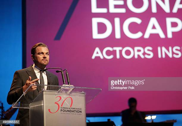 Honoree Leonardo DiCaprio recipient of the Actors Inspiration Award speaks onstage during the Screen Actors Guild Foundation 30th Anniversary...