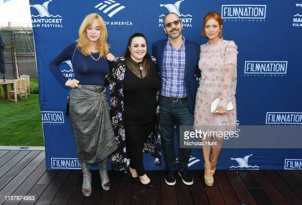 Honoree Leslie Dixon Nikki Blonsky NFF Film Program Director Basil Tsiokos and Brittany Snow attend the Screenwriters Tribute at Sconset Casino...