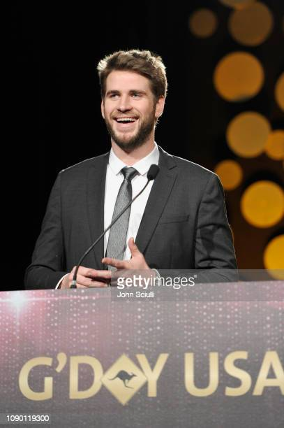 Honoree Liam Hemsworth speaks onstage during the 2019 G'Day USA Gala at 3LABS on January 26 2019 in Culver City California