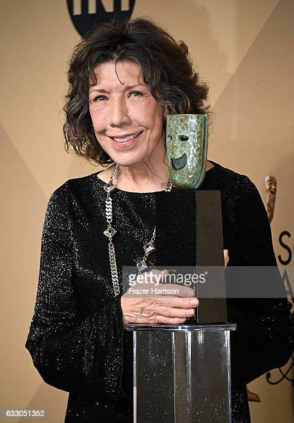 Honoree Lily Tomlin recipient of the SAG Life Achievement Award poses in the press room during The 23rd Annual Screen Actors Guild Awards at The...