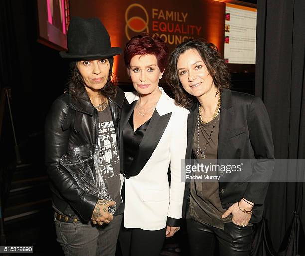 Honoree Linda Perry TV personality Sharon Osbourne and honoree Sara Gilbert attend the Family Equality Council Impact Awards on March 12 2016 in...