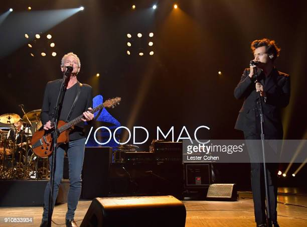 Honoree Lindsey Buckingham and musician Harry Styles perform onstage at MusiCares Person of the Year honoring Fleetwood Mac at Radio City Music Hall...