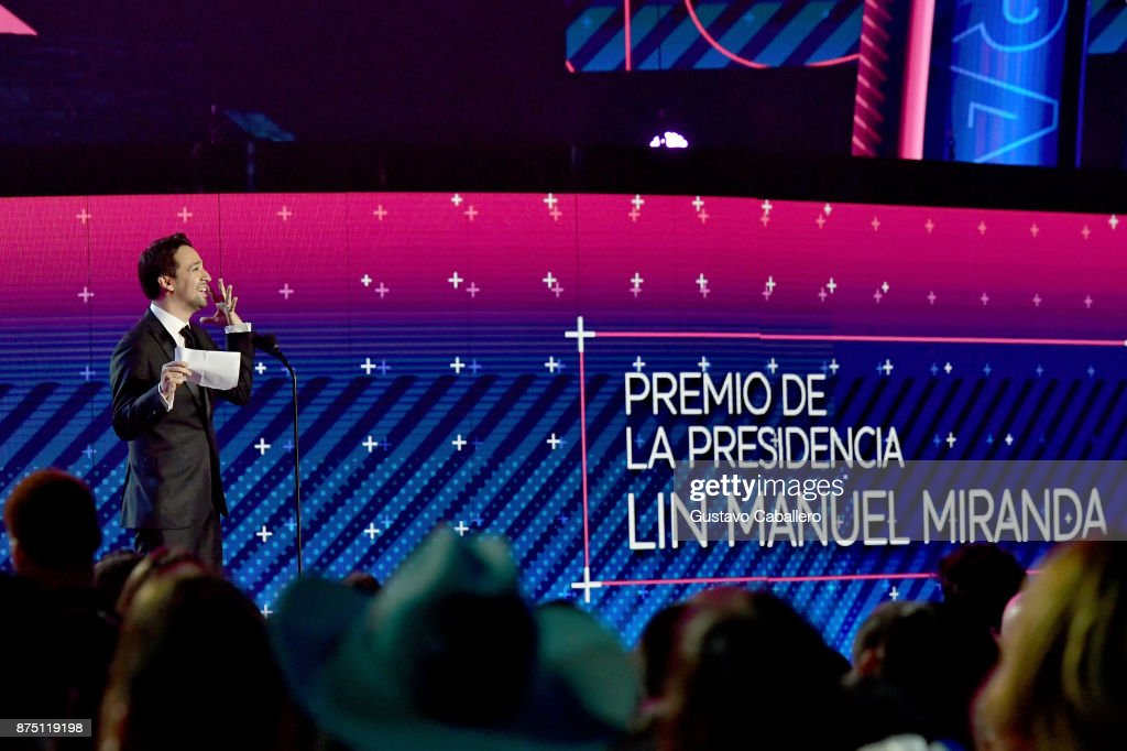Honoree Lin-Manuel Miranda accepts the President's Merit Award onstage during The 18th Annual Latin Grammy Awards at MGM Grand Garden Arena on November 16, 2017 in Las Vegas, Nevada.