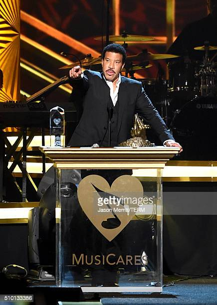 Honoree Lionel Richie accepts award onstage at the 2016 MusiCares Person of the Year honoring Lionel Richie at the Los Angeles Convention Center on...