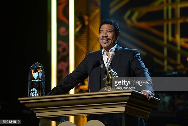 Honoree Lionel Richie accepts his award onstage during the 2016 MusiCares Person of the Year honoring Lionel Richie at the Los Angeles Convention...
