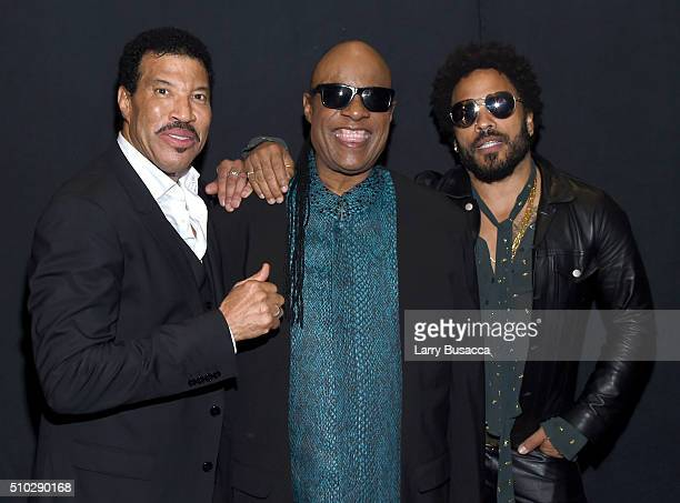 Honoree Lionel Richie and musicians Stevie Wonder and Lenny Kravitz attend the 2016 MusiCares Person of the Year honoring Lionel Richie at the Los...