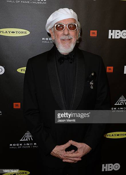 Honoree Lou Adler arrives at the 28th Annual Rock and Roll Hall of Fame Induction Ceremony at Nokia Theatre LA Live on April 18 2013 in Los Angeles...