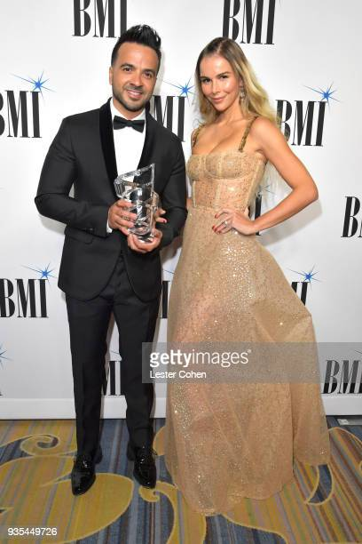 Honoree Luis Fonsi and Agueda Lopez attend the 25th Annual BMI Latin Awards at Regent Beverly Wilshire Hotel on March 20 2018 in Beverly Hills...