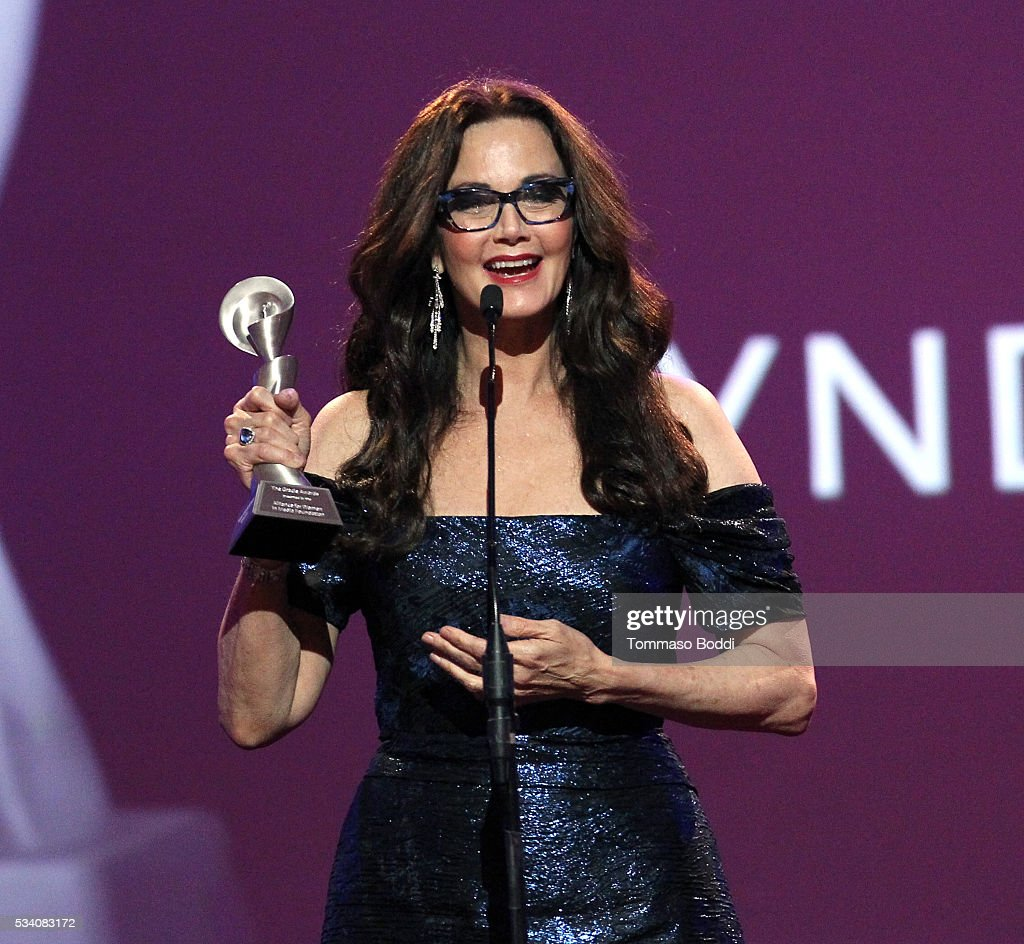 Honoree Lynda Carter accepts the Lifetime Achievement Award onstage during the 41st Annual Gracie Awards at Regent Beverly Wilshire Hotel on May 24, 2016 in Beverly Hills, California.