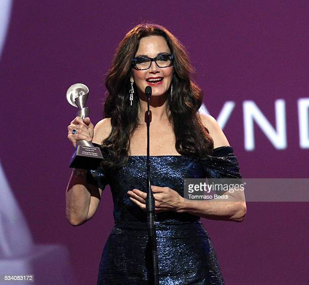 Honoree Lynda Carter accepts the Lifetime Achievement Award onstage during the 41st Annual Gracie Awards at Regent Beverly Wilshire Hotel on May 24...