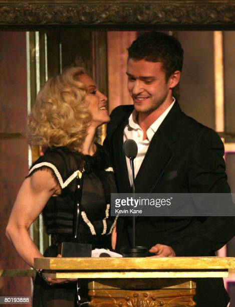 Honoree Madonna and Musician Justin Timberlake on stage during the 23rd Annual Rock and Roll Hall of Fame Induction Ceremony at the Waldorf Astoria...