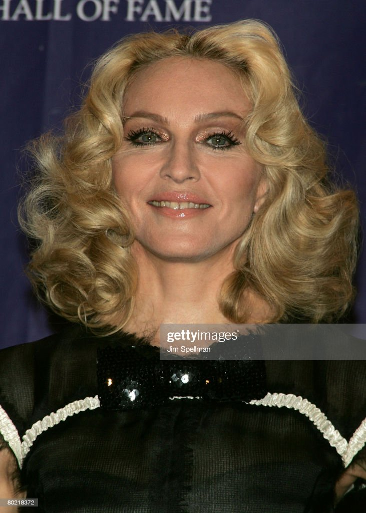Honoree Madonna poses in the press room during the 23rd Annual Rock and Roll Hall of Fame Induction Ceremony at the Waldorf Astoria on March 10, 2008 in New York City.