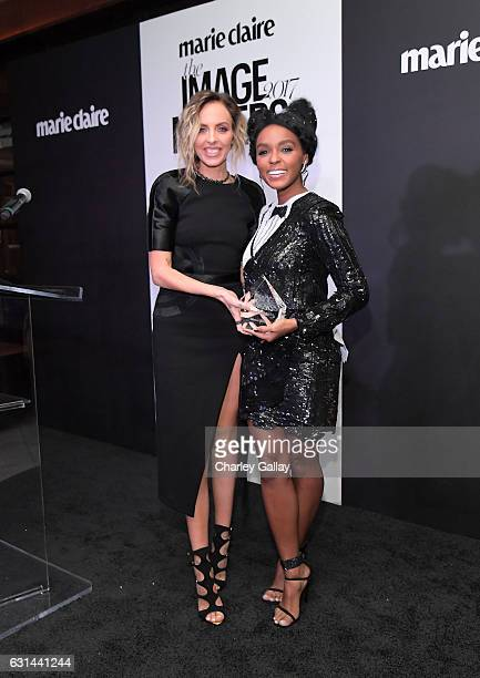Honoree Maeve Reilly and recording artist Janelle Monae pose with the New Guard award during Marie Claire's Image Maker Awards 2017 at Catch LA on...
