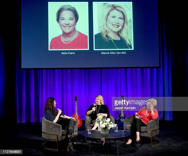 Honoree Marcie Allen and Bebe Evans answer questions from CMHOF's Abi Tapia for an interview during the Twelfth Annual Louise Scruggs Memorial Forum...