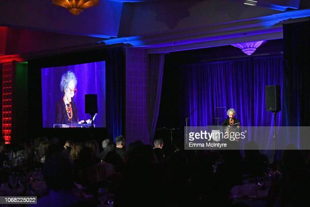 Honoree Margaret Atwood speaks onstage at Equality Now's Make Equality Reality Gala 2018 at The Beverly Hilton Hotel on December 3 2018 in Beverly...