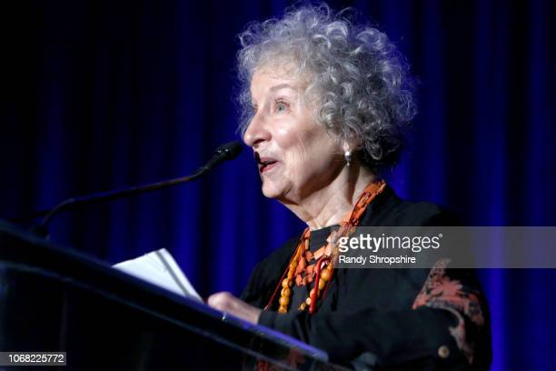 Honoree Margaret Atwood speaks onstage during Equality Now's Make Equality Reality Gala 2018 at The Beverly Hilton Hotel on December 3 2018 in...