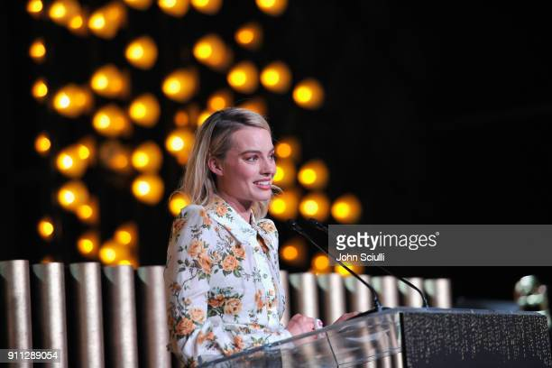 Honoree Margot Robbie speaks onstage during the 2018 G'Day USA Black Tie Gala at InterContinental Los Angeles Downtown on January 27 2018 in Los...